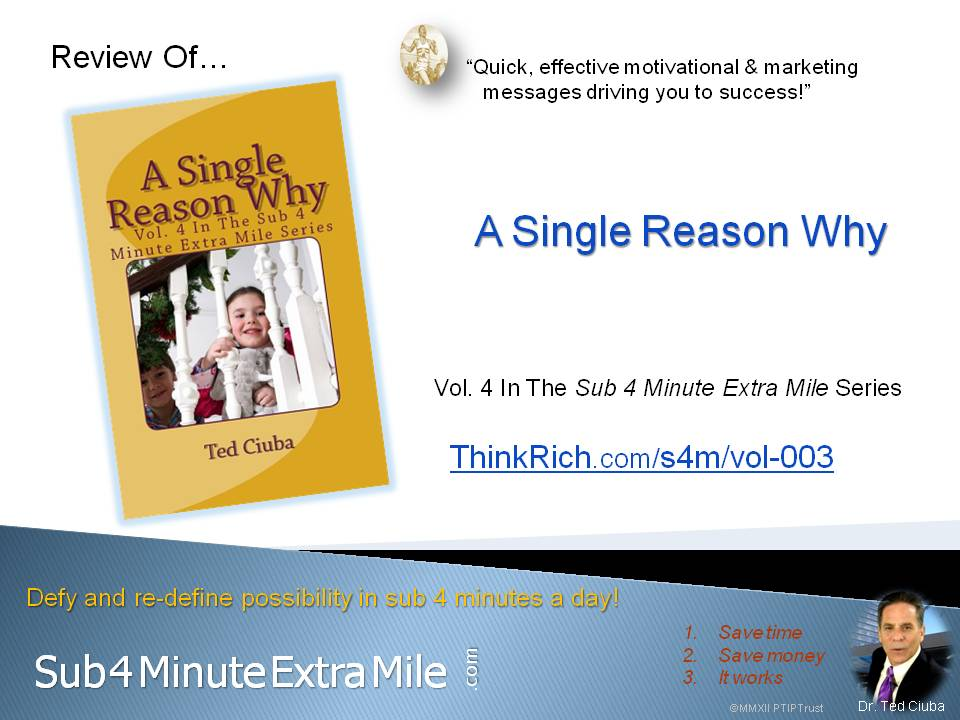 Review of *A Single Reason Why* of Sub 4 Minute Extra Mile Series Vol 4