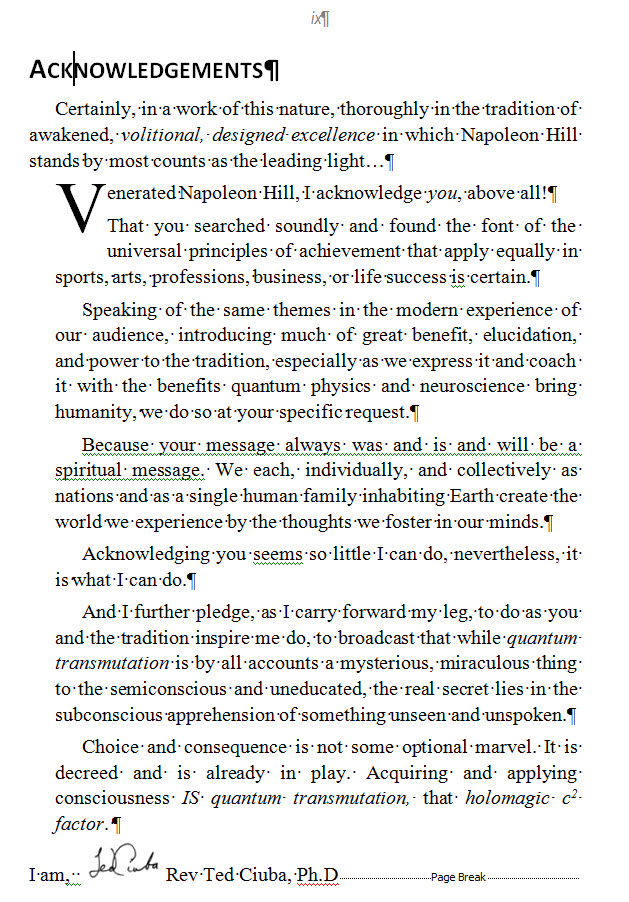 "Acknowledgements from ""101 Quantum Success Secrets"""