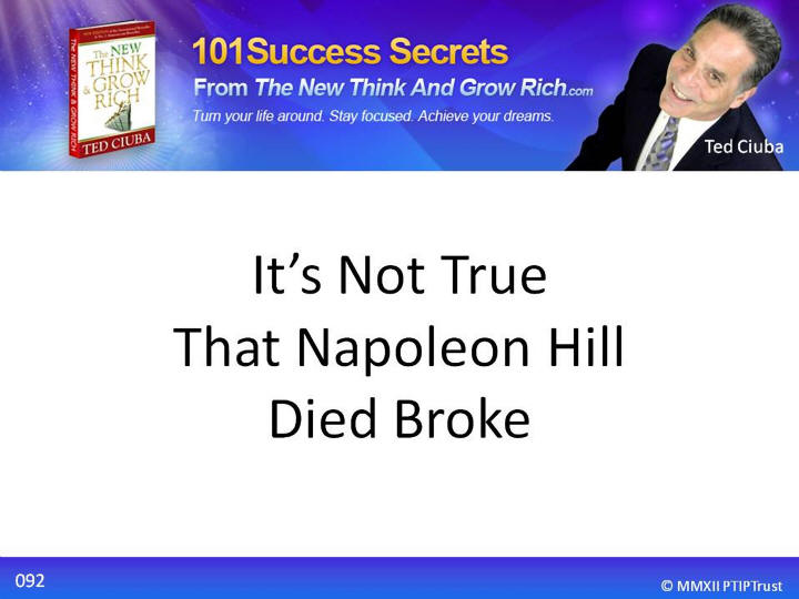 It's Not True That Napoleon Hill Died Broke