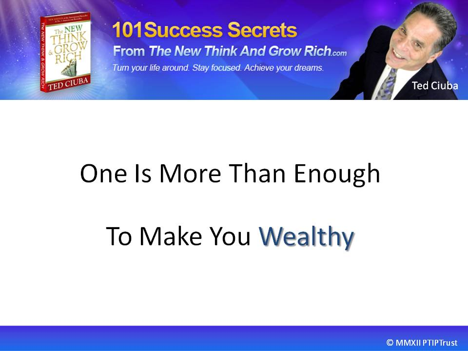 One Is More Than Enough To Make You Wealthy